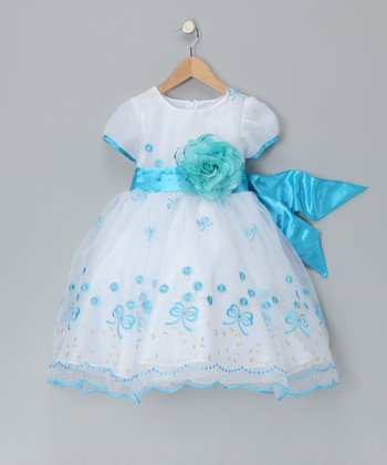 Chic Baby White & Turquoise Bouquet Dress - Toddler & Girls