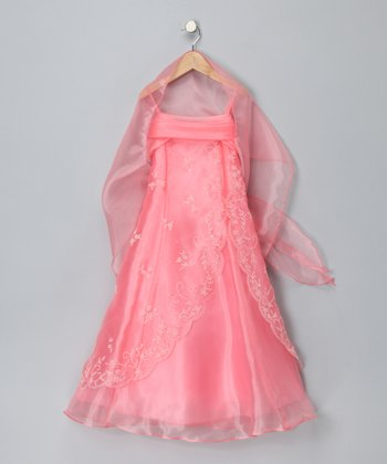 Coral Beaded Overlay Dress & Shawl - Girls