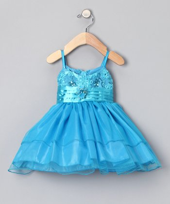 Turquoise Pin Tuck Sash Dress - Infant