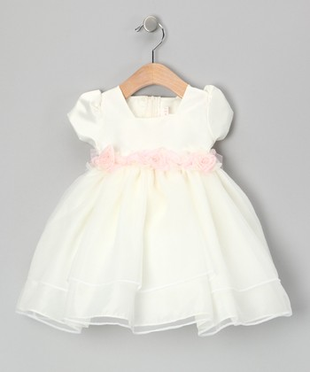 Ivory & Pink Rosette Waist Babydoll Dress - Infant
