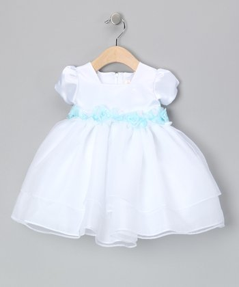 White & Blue Floral Waist Dress - Infant