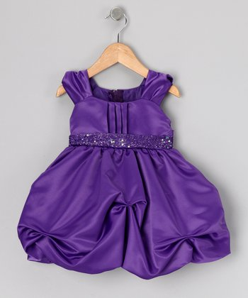 Purple Sequin Bubble Dress - Infant