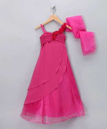 Fuchsia Rose Trail Dress & Shawl - Girls