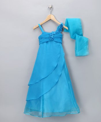 Turquoise Rose Trail Dress & Shawl - Girls