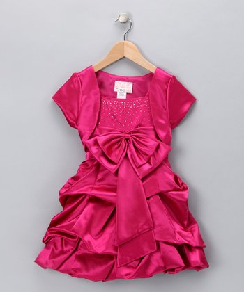Fuchsia Sparkle Bow Pickup Dress & Shrug - Girls