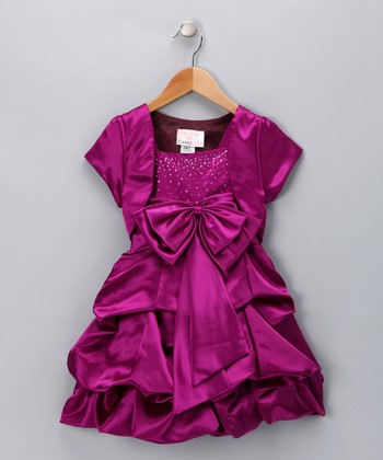 Chic Baby Magenta Sparkle Bow Pick-Up Dress & Shrug - Girls
