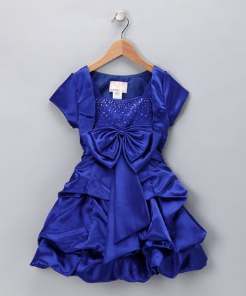 Chic Baby Royal Blue Sparkle Bow Pick-Up Dress & Shrug - Girls