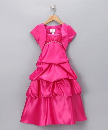 Chic Baby Fuchsia Rhinestone Dress & Shrug - Girls