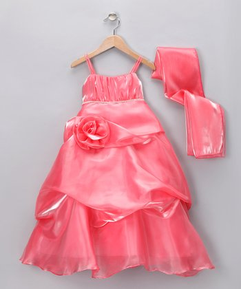 Coral Sparkle Rose Pickup Dress & Shawl - Girls