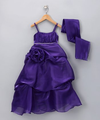 Purple Sparkle Rose Pick-Up Dress & Shawl - Girls