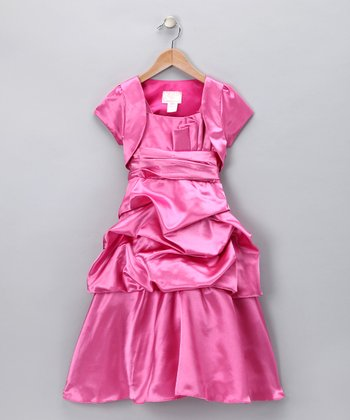 Chic Baby Rose Pleated Dress & Shrug - Girls