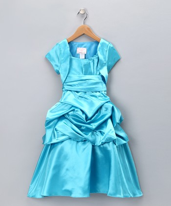 Chic Baby Turquoise Pleated Dress & Shrug - Girls