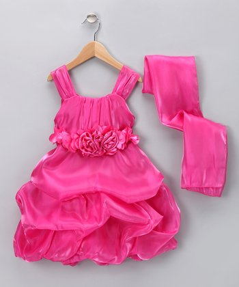 Chic Baby Fuchsia Rosette Pick-Up Dress & Shawl - Toddler & Girls