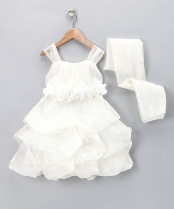 Chic Baby Ivory Rosette Pick-Up Dress & Shawl - Toddler & Girls
