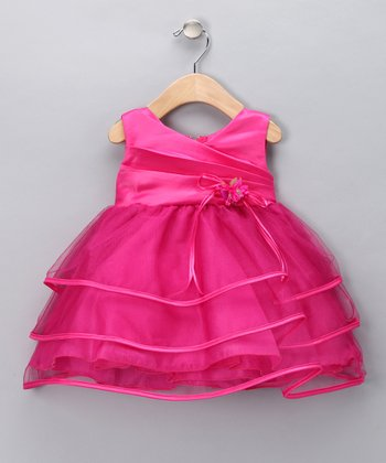 Fuchsia Tiered Ribbon Dress - Infant