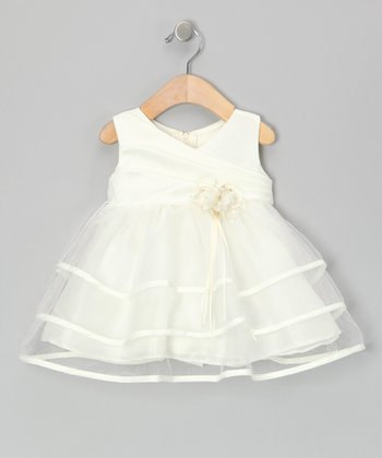 Ivory Tiered Surplice Dress - Infant