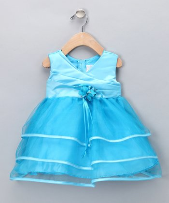 Turquoise Tiered Ribbon Dress - Infant