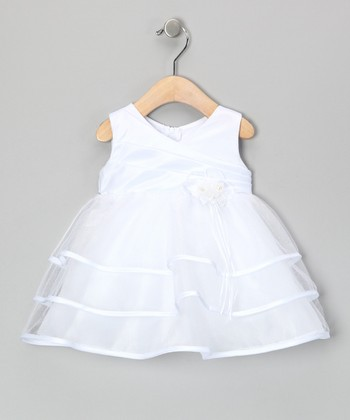 White Tiered Surplice Dress - Infant