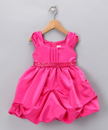 Fuchsia Sequin Pickup Dress - Infant