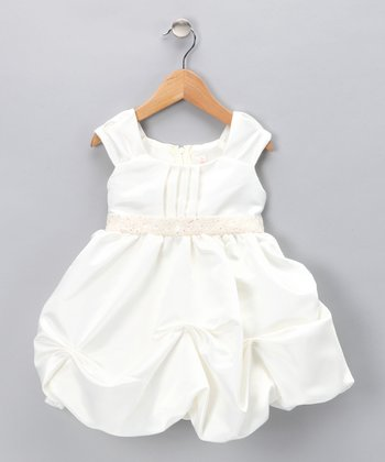 Ivory Sequin Pickup Dress - Infant