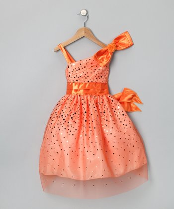 Chic Baby Orange Glimmer Dress - Toddler & Girls