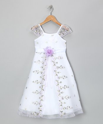 Lilac Floral Angel-Sleeve Dress - Infant & Toddler