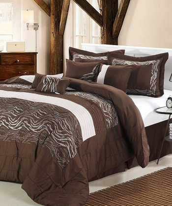 Brown & Beige Wave Comforter Set