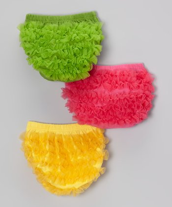 Lime, Hot Pink & Yellow Ruffle Diaper Cover Set - Infant