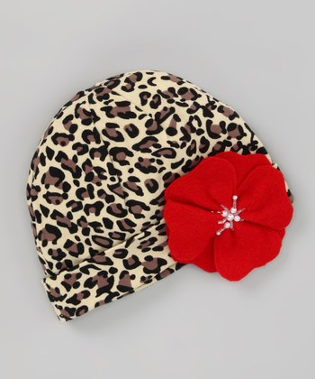 Cheetah Beanie & Red Flower Clip