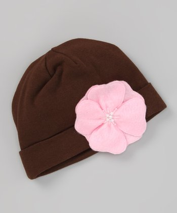 Brown Beanie & Pink Flower Clip