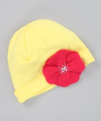 Yellow Beanie & Red Flower Clip