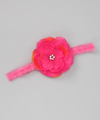 Hot Pink & Orange Sophia Flower Headband