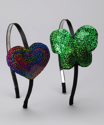 Green Butterfly & Rainbow Heart Sequin Headband Set