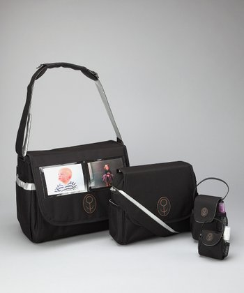 Child Speed Black & Silver The Picture Bag Magnus Diaper Bag Set