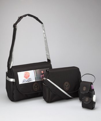 Child Speed Black & Silver The Picture Bag Midst Diaper Bag Set