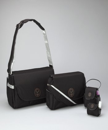Child Speed Black & Silver The Midst Diaper Bag Set
