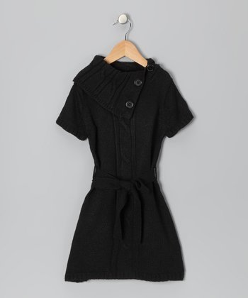 Black Fold-Over Collar Sweater Dress - Toddler & Girls