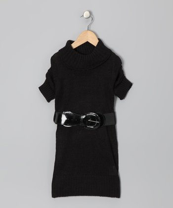 Black Belted Sweater Dress - Toddler & Girls