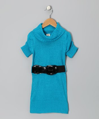 Turquoise Belted Sweater Dress - Toddler & Girls