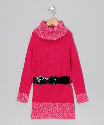 Fuchsia Belted Turtleneck Sweater Dress - Toddler & Girls