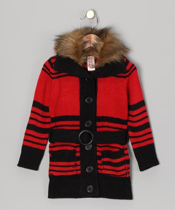 Flame Faux Fur Collar Duster - Toddler & Girls