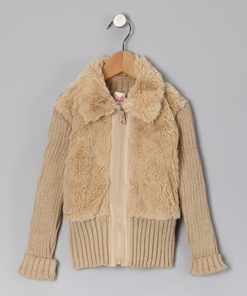 Camel Faux Fur Jacket - Toddler & Girls
