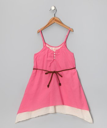 Coral Layered Dress & Braid Belt - Toddler & Girls