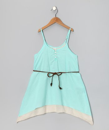 Turquoise Layered Dress & Braid Belt - Toddler & Girls