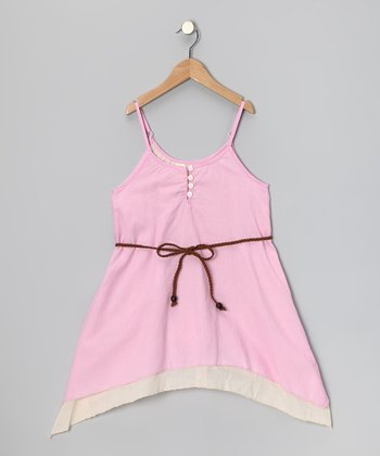Pink Layered Dress & Braid Belt - Toddler & Girls