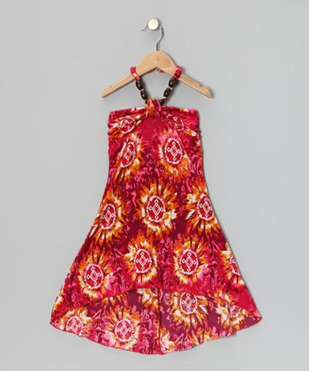 Orange Beaded Tie-Dye Dress - Girls