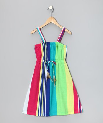 Green & Blue Stripe Feather Tie Dress - Girls