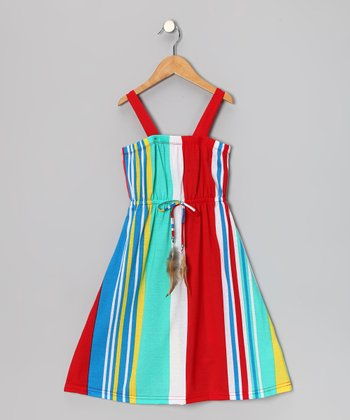Aqua & Red Stripe Feather Tie Dress - Girls