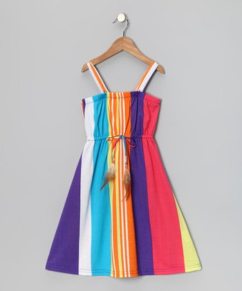 Orange & Purple Stripe Feather Tie Dress - Girls