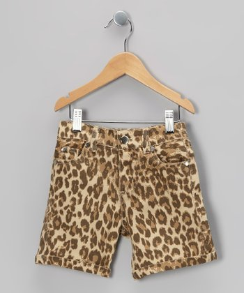 Brown Leopard Shorts - Toddler & Girls